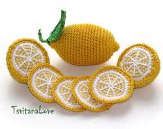 Crochet fruta - rodajas de limón (6 piezas) - temporadas - Eco-friendly - Decor - jugar a comida - juguetes Сrochet - juego de cocina - listo para enviar