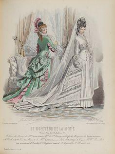 Victorian fashion plate for wedding. Le moniteur de la mode 1876