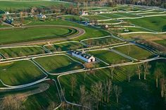 Aerial view of one of the most famous of Lexington's horse farms -- Calumet