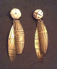 Etched brass and shell earrings Terry Enfield