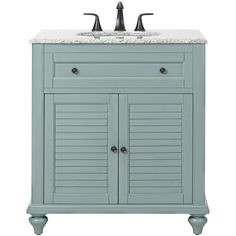 Home Decorators Collection Hamilton Shutter 31 in. W x 22 in. D Bath Vanity in Sea Glass with Granite Vanity Top in Grey
