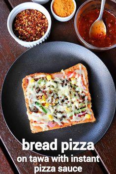easy pizza bread recipe bread pizza recipe with instant pizza sauce Veg Recipes, Spicy Recipes, Cooking Recipes, Pizza Recipes, Turmeric Recipes, Paneer Recipes, Skillet Recipes, Snacks Recipes, Cooking Gadgets
