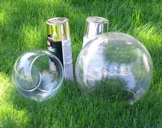 A smart, quick idea for making a gazing ball. A fish bowl and spray paint.