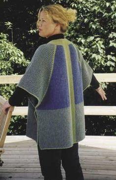 Stylish designer knitting kit from Danish designer Hanne Falkenberg for a cape / waistcoat, knitted in garter stitch. Knitting Blogs, Knitting Kits, Arm Knitting, Knitting Patterns, Knit Jacket, Knit Cardigan, Knit Vest Pattern, Knitted Cape, Knit Crochet