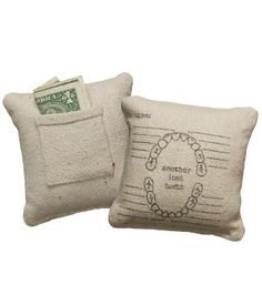 Another Lost Tooth Pillow - Primitives by Kathy A perfect little pillow with a pouch with a pouch to keep lost teeth (and their rewards!) safe and sound, and a great way to keep track of when your little one loses their baby teeth! Tooth Pillow, Tooth Fairy Pillow, Shabby, Feed Sacks, Decoration, Just In Case, Little Ones, Baby Kids, Kids Room