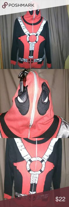 Dead Pool hoodie, full mask. Dead Pool hoodie. Zips all the way to the back of the head, mesh eye holes. In good condition. Marvel Jackets & Coats