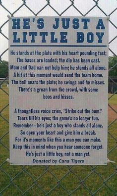 Very Powerful!  This should be posted at every ball field for kids. It should always be fun for them.
