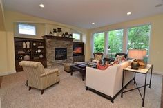 Traditional Living Room Built In Bookcase Design, Pictures, Remodel, Decor and Ideas Wall Units With Fireplace, Fireplace Windows, Fireplace Built Ins, Home Fireplace, Fireplace Remodel, Fireplace Ideas, Fireplace Mantels, Exposed Brick Fireplaces, Stacked Stone Fireplaces