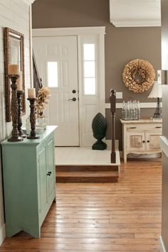 Neutrals and white with colored cabinet