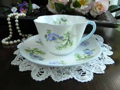 Vintage Shelley Tea Cup Blue Poppy Teacup Cup by TheVintageTeacup, $125.00
