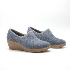 Felted wool wedge clogs Blue  organic wool booties by WoolenClogs, $110.00
