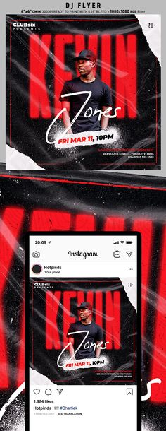 """Dj Flyer Template is very modern psd flyer that will be the perfect invitation for your Club event or Guest Dj party! All elements are in individual layers and the text is fully editable! 2 PSD files - 4""""x4"""" with 0.25"""" bleed + 1080x1080 Rgb Flyer Clearly labelled folders and layers"""
