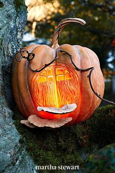 Let the ghouls and goblins knock on everyone else's door while you spend the evening hanging with the fairies this Halloween. To invite them in, transform a pumpkin into a cozy hollow following our step-by-step carving tutorial. #marthastewart #pumpkins #diypumpkins #falldecor #halloween Creative Halloween Costumes, Diy Halloween Decorations, Halloween Crafts, Halloween Tricks, Halloween Ideas, Pretty Halloween, Holidays Halloween, Halloween Night, Halloween Fairy