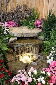 Beautiful Backyard Ponds and Waterfalls Garden Ideas (38) #BeautifulGarden #gardenfountainswaterfall