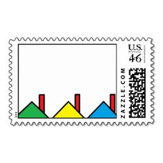 """Colorful Houses"" Postage Stamps"