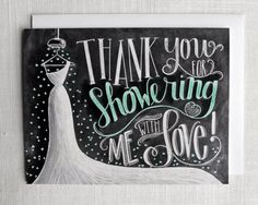 Bridal Shower Thank You Card, Bridal Thank You Card, Bridal Shower, Chalkboard Art, Wedding Thank You, Thank You Bridal Shower, Chalk Art,