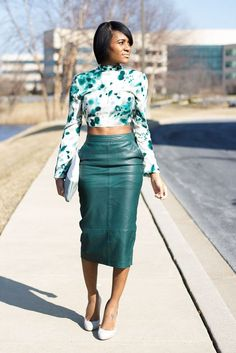 Green leather skirt, crop blouse and more - LadyStyle