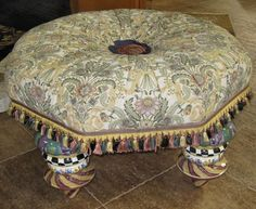 MacKenzie Childs Setting Seat / Ottoman $1495 2 for living room