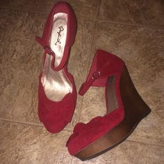 Red Wedges Never worn wedges. Shoes Wedges