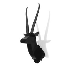 Jane New York Decor / Antelope sculpture in edgy Black Opaque. Pairs well alongside Classic Deer sculpture or as an independent style accent in your home or office.