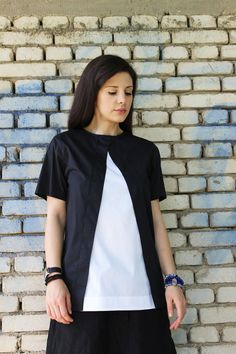 FREE SHIPPING Black Loose Shirt / Extravagant Summer by Fraktura