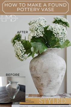 Turning a Glass Vase Into Antique Pottery. | Leah Maria Designs Diy Painted Vases, Spray Paint Vases, Antique Pottery, Pottery Vase, Large Glass Vase, Glass Jars, Vase Design, Idee Diy, Vase Fillers