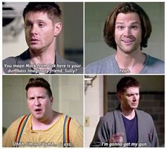"""I'm gonna get my gun ~ Dean Winchester ... poor Sully LOL [GIFSET] Supernatural 11x08 """"Just My Imagination"""" #Dean Winchester #Sam Winchester #Sully"""