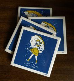 When it rains, it pours -- Vintage Morton Salt coasters. $15.00, via Etsy.