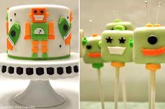 robot cake and cupcakes @maggie maxey (this would be a good idea for ZEKE :)