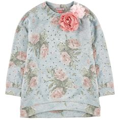 Modal and polyester fleece Pleasant to the touch Soft lining Longer cut in the back  Round neckline Stretch ribbed knit neckline Long sleeves Flower print Fancy rhinestones Fabric flowers - 130,00 €