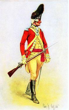 American Revolutionary War Uniform - Grenadier Company British Fifty-Second… American Revolutionary War, American War, Early American, British Army Uniform, British Uniforms, Barbary Wars, British America, Independence War, Continental Army