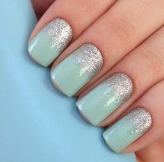 Mint sparkle nails #mintyy