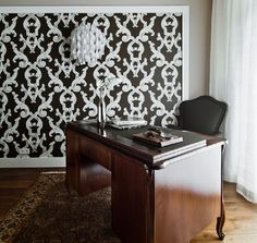 Home office with wallpaper