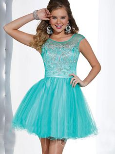 A-line Bateau Natural Short/Mini Sleeveless Beading Backless Tulle Tiffany Blue Prom / Homecoming / Cocktail Dresses By Hannah S 27880