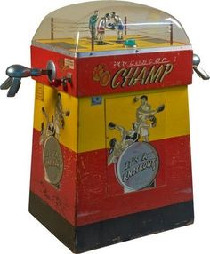 """10 Cent """"K. - Champ"""" Arcade Boxing Skill Game by International Mutoscope Corp., New York """"It's A Knock-Out! Arcade Game Machines, Vending Machines, Arcade Machine, Arcade Games, Pinball Games, Vintage Games, Vintage Toys, Cave Man, Vintage Slot Machines"""