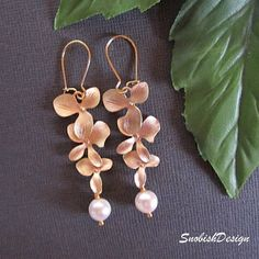 Drop Earrings  Orchid Flower Earrings  Pearl  by SnobishDesign, $25.00