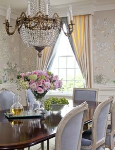 Gorgeous Dining Area Soft Colors And Chinoiserie Wallpaper