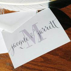 Wedding Thank You Notes with Calligraphy & Monogram, handmade wedding stationery, wedding thank you cards, bride and groom thank you wedding