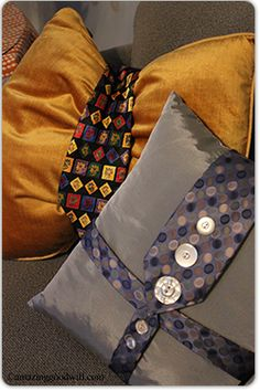 From men's tie from Goodwill, to a perfect pillow accessory!