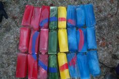 Our kindergarten makes a Sami flag out of ice blocks each year for Sami Week. We color water with poster paint then freeze it inside clean milk cartons!