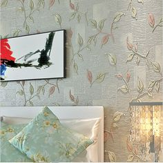Luxury Leaves 3D Wallpaper Modern Embossed Floral Wallpaper Roll Bedroom Sofa Wall Paper Floral Papel De Parede 3D