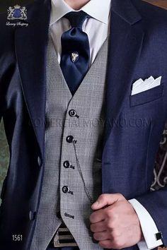 Italienisch marine blaue Bräutigam Anzug aus reiner Wolle. Anzug 1561 Kollektion Gentleman Ottavio Nuccio Gala