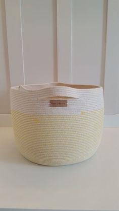 Extra Large Yellow and White Rope Basket by PrairieStMercantile
