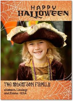 Send a sparkling orange Halloween photo card to show off your princess' sweet smile.