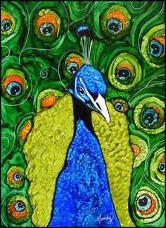 Prestige - alcohol ink painting by Monica Moody Peacock Drawing, Peacock Painting, Peacock Art, Alcohol Ink Crafts, Alcohol Ink Painting, Alcohol Ink Art, Peacock Canvas, Mixed Media Artwork, Happy Art