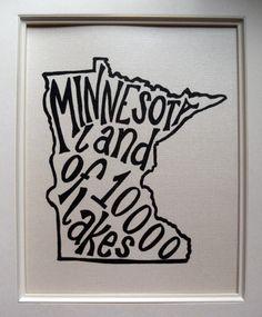 Minnesota Land of Lakes - White Background - Illustrated Print by Mandipidy Minnesota Home, Minnesota Vikings, Minneapolis, Decoration, My Idol, Sweet Home, Crafty, My Love, Places