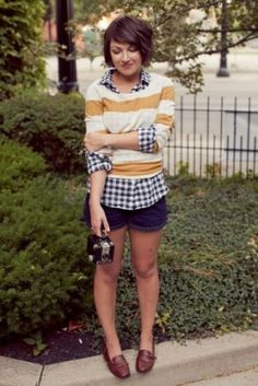 girl wearing stripes carrying vintage camera - Fun and fabulous with stripes polka dots and pom poms - myLusciousL.jpg