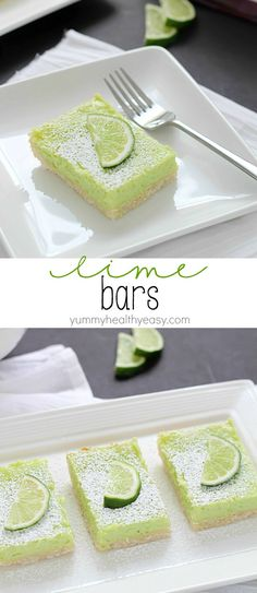 Lime Bars ~ featuring a delicious crust and a light and fluffy layer of lime that's almost like a meringue, these green bars would be perfect for St. Patrick's Day! | yummyhealthyeasy.com