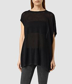 Women's Grid Knitted Tee (Black) -