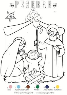 Spanish Color By Number Culturally Relevant Coloring Pages For Christmas Nativity And Pinata Free Printables